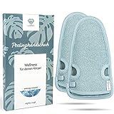2 Stück - LoWell - Peelinghandschuh rau inkl. Peeling-Guide + 2 x BONUS Saugnapf - LUXUS für deinen Körper - Wellness Handschuh - Dusch Schwamm Body - Hamam Handschuhe Gesicht (Grau)